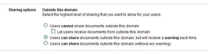 Google Apps - Doc Publish Settings